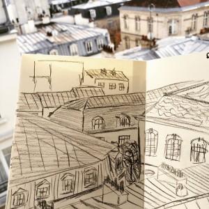 Urban sketch toits de Paris
