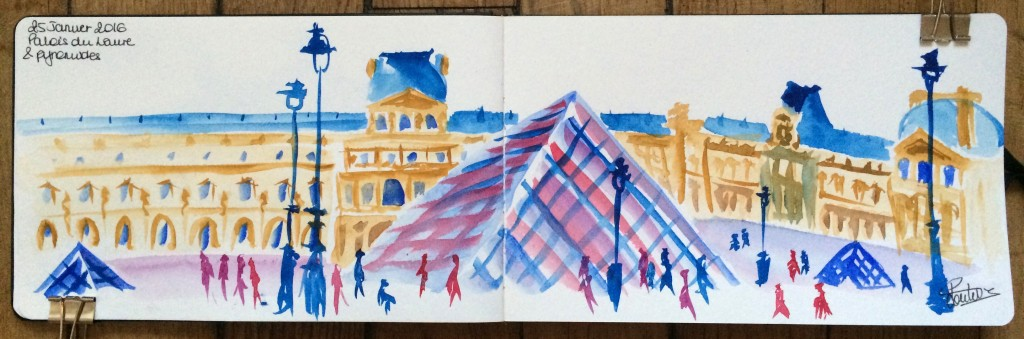 Urban sketch Louvre