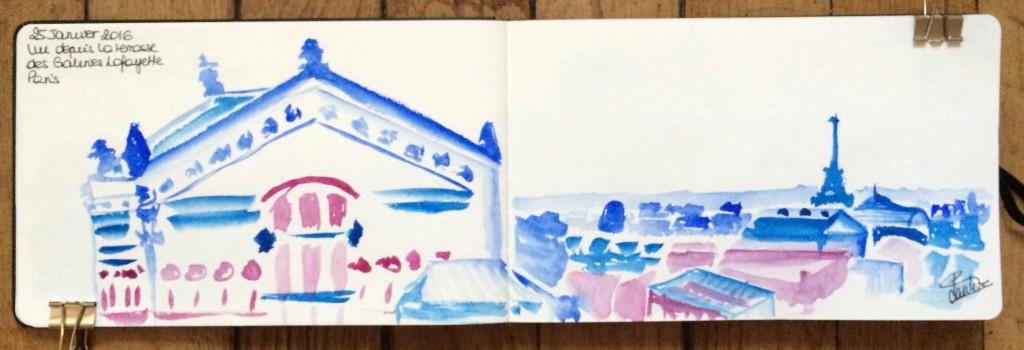 Urban sketch Galeries Lafayette