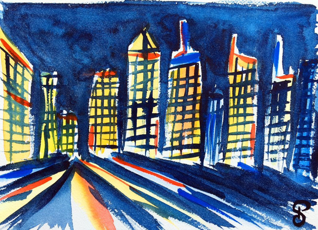Aquarelles NYC - Manhattan skyline