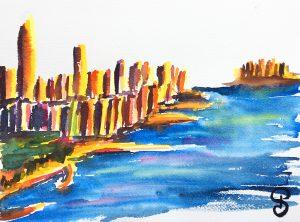 Aquarelles NYC - Hudson River